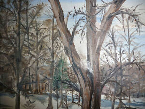 "Original Oil Painting ""Winter's Day By The Stream"" Stratford Kitchener Area image 8"