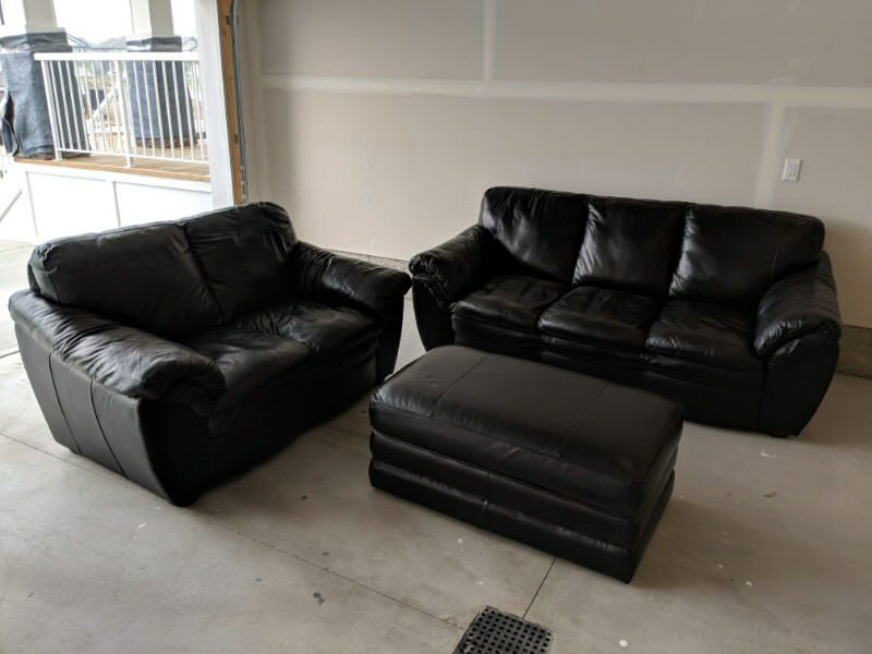 Black Leather Loveseat Couch And Ottoman Couches Futons Edmonton Kijiji