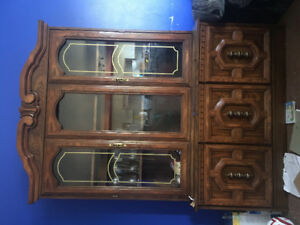 Cabinet , Dresser and dining table with six chairs for sale