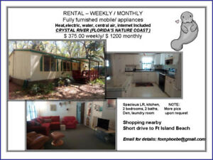 Florida Mobile home for rent ( all inclusive ) weekly / monthly