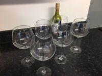 Six extra large wine glasses