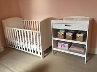 3 Piece nursery furniture set - wardrobe, changing unit, cot bed