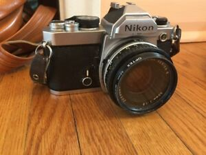 Nikon FM 35 mm Camera, 3 lenses, tripod, flash, bag, etc.