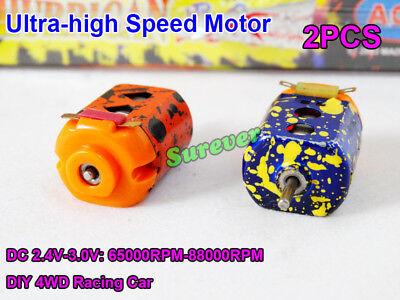 2pcs Dc 2.4v-3v 88000rpm High Speed Mini 130 Motor Rc Toy 4wd Slot Racing Car