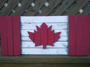 Rustic Canadian Flags