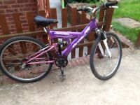 Ladies dual suspension mountain bike 18 gears