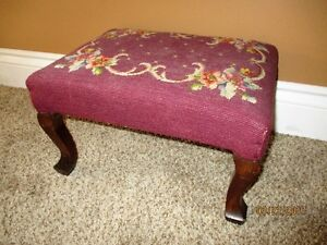 Antique Needlepoint / Tapestry Footstool