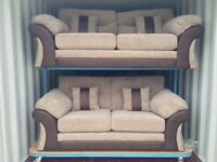 Beige Fabric and Brown Faux Leather 3 & 2 Seater sofa (New ex display)