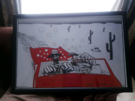 Fear and loathing official print in black frame