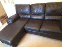 Natuzzi Italian Leather L Shape Sofa - Dark Brown
