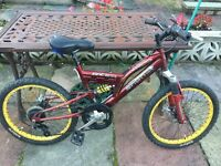 "Kids boys full suspension mountain bike 20"" wheels"