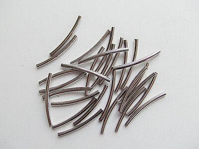 30pz perline ottone spacer separatori  tubo 25x2mm colore argento scuro