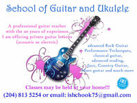 Guitar(classical, electric, acoustic) and Ukulele lessons