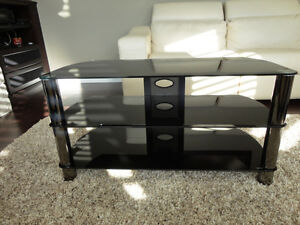 Mint Condition Smoked Tempered Glass Entertainment TV Stand