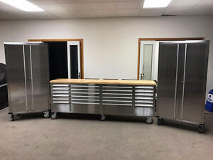 """NEW 8FT STAINLESS TOOL BENCH BOX & (2) 72"""" GARAGE CABINETS WORK"""