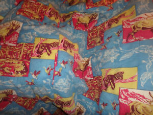 Vintage 1960s Sleeping Bag Canadian Motif  - Like New - Perfect