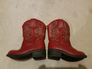 Red kids cowboy boots Girls size 5.