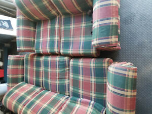 Tartan couch and loveseat