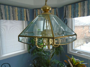 "Chandelier 16"" brass and beveled glass beautiful like new"