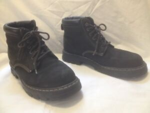 Mens Black Nubuck Leather 'Roots Tuff' Boots 10M