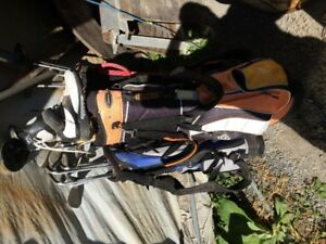 3 sets of mens golf clubs and bag also men shoes  $35