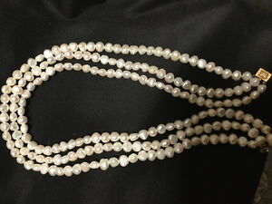 Pearl necklace, diamond and gold earrings, silver bracelet,rings