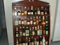 Glass front wall Case with about 40 Miniature Liquers+