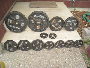 "195lbs NAUTILUS OLYMPIC WEIGHTS with 2"" Holes - 2x45lbs, 2x25lb"