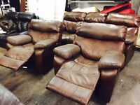 Brown leather 3 11 recliner sofa set