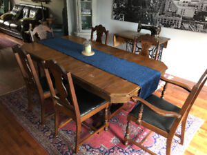 Antique Wood Table with 6 chairs