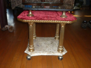marble and glass side table