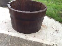 Lovely half oak barrel garden plant pot