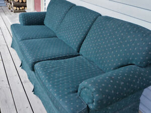 Couch, green cloth, small pattern design