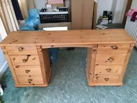 Pine dressing table desk with 8 drawers