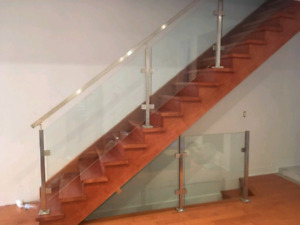 Glass railing interior for homes