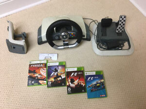 Xbox 360 wireless Wheels and Paddel incl. Games