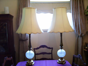 vintage glass and brass table lamps