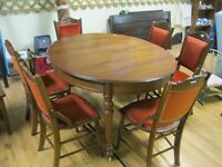 Vintage Wood Table & 6 Maching Chairs Special Sale