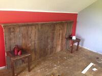 Hand built barn board headboard