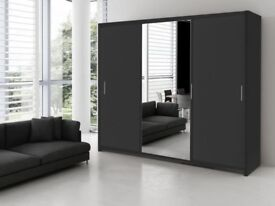 CHEAPEST PRICE GUARANTEED! NEW 2 Door Berlin Sliding Full Mirror Wardrobe with shelves & hanging