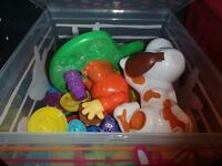 BIN FULL OF PLAYDOUGH AND ACCESSORIES