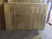 Tanalised Wooden/ Timber Straight Top Feather Edge Close Board Fence Panels ~ Heavy Duty~