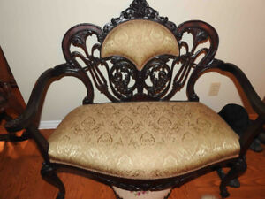 antique settee (small)newly restored inside and out NEW PRICE