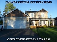 OPEN HOUSE SUNDAY FEBRUARY 7TH  228 Lady Russell off Ryan