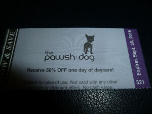 Selling Show & Save Pawsh Dog 50% OFF Daycare Coupon