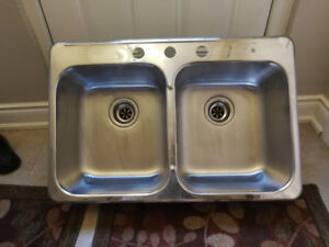 Stainless steel double bowl sink-$35