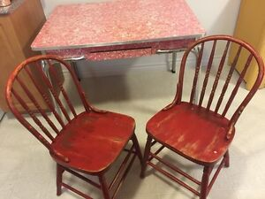 Vintage Red Chrome Kitchen Table and 2 Red Wooden  Chairs