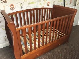 Solid wood sleigh style cot bed
