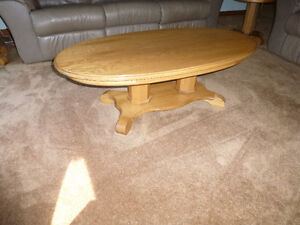 3 piece set of oak coffee & end tables