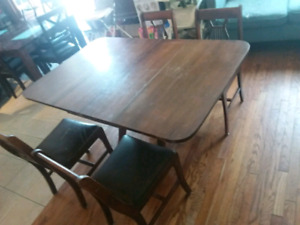 Nice Antique folding table and 4 chairs today 100.00
